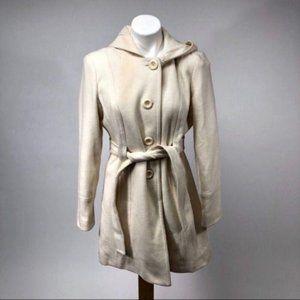 Anne klein ivory white wool peacoat hood jacket